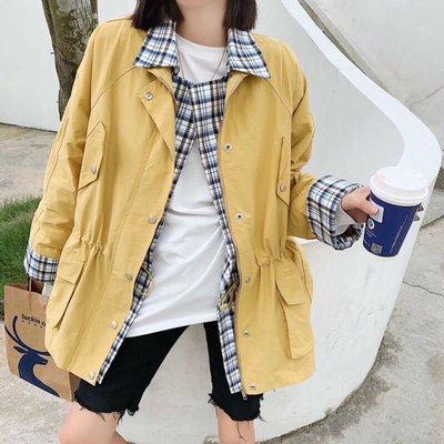 (限時.優惠-現貨)正韓假兩件式中長版風衣外套