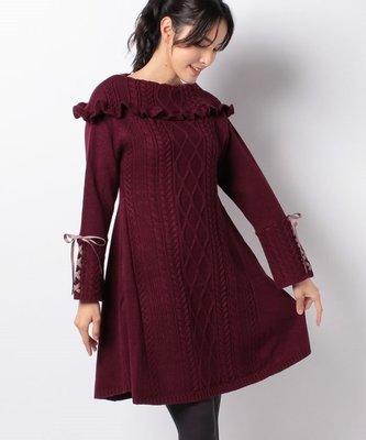 【WildLady】 日本精美花邊大翻領綁帶袖針織裙 麻花連身裙axes femm