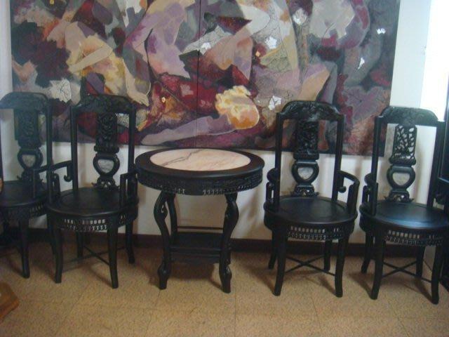 特價早期酸枝紫檀紅木1圓桌(直徑約78cm)加4椅(收購古董古物歡迎參觀)
