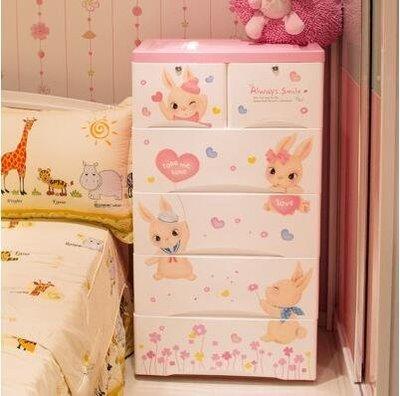 『格倫雅』加厚防脫落抽屜式儲物櫃嬰兒整理箱寶寶衣櫃【五層】^3573