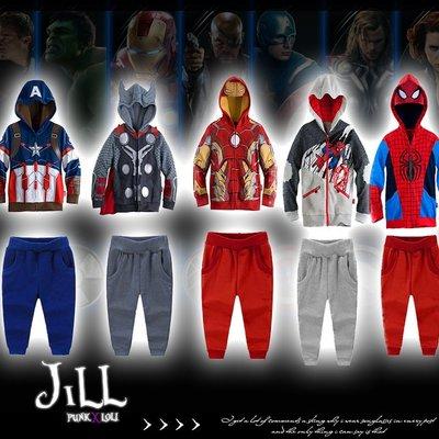 Marvel漫威英雄系列兒童連帽套裝 美國隊/長鋼鐵人/雷神索爾/蜘蛛人【J1F6005】