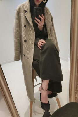 【LA Boutique】韓國 日本訂單 高質感 格子 合身 長版西裝外套 (深咖啡)