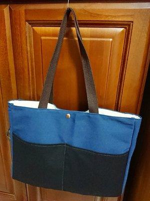 (免運)【莓好生活】厚帆布手工高品質A4通勤包(藍黑)/文件袋/補習袋/補習包/筆電包/平板包