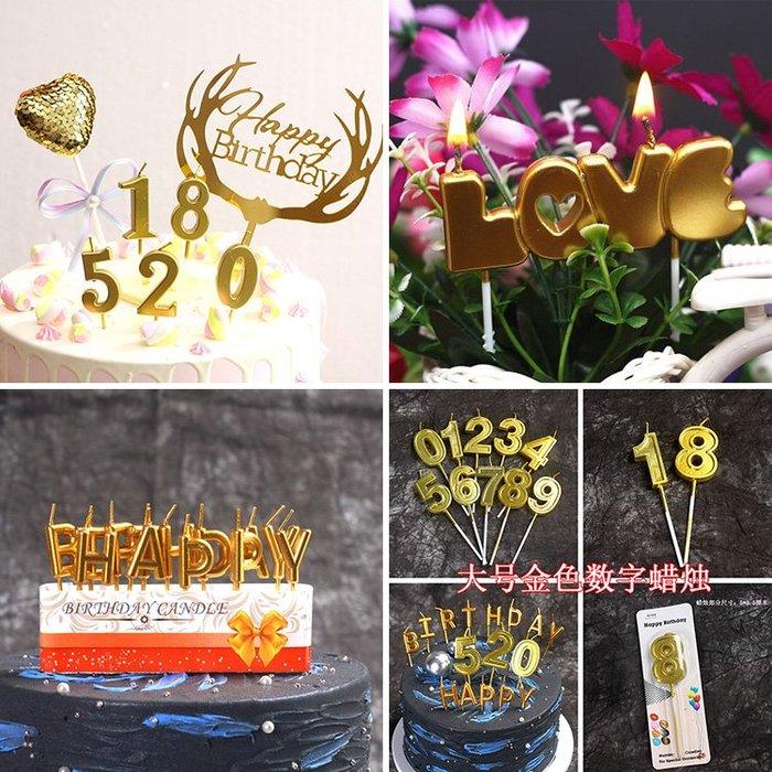 新品上市#金色數字生日蠟燭 生日數字蠟燭 0-9周歲金色數字無煙生日蠟燭