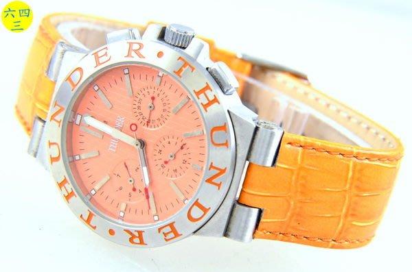@(六四三精品)@THUNERR(真品)(三眼六針)不銹鋼錶殼,,真皮錶帶.自動上鍊龍頭鎖入式..橘