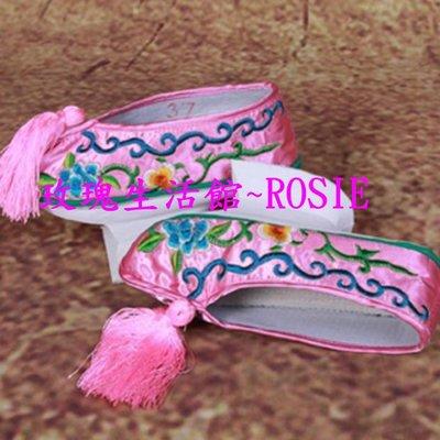 【玫瑰生活館】~ 繡花格格鞋,,正宗旗鞋,~粉,藍,紅