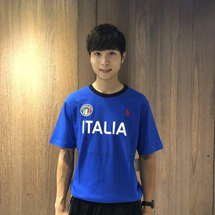 美國百分百【Ralph Lauren】T恤 RL 短袖 T-shirt Polo 大馬 義大利 徽章 藍色 I566