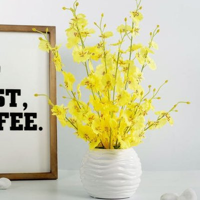 仿真盆栽 北歐跳舞蘭仿真花假花客廳室內裝飾花藝盆栽餐桌擺件干花花束擺設