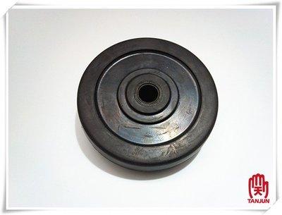[天掌五金]4英吋 1英吋厚 軸心10㎜ 黑色 扁車輪 空壓機輪 塑膠輪 實心輪 實心胎 輪胎