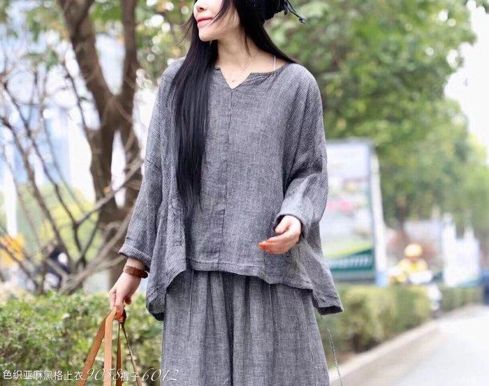 春裝薄款色織亞麻細格紋寬鬆上衣(老銀屋)