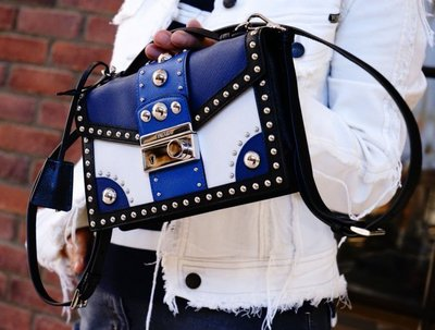 Prada BT0969 Studded Saffiano Crossbody Clutch Blue卯釘小型斜背包藍
