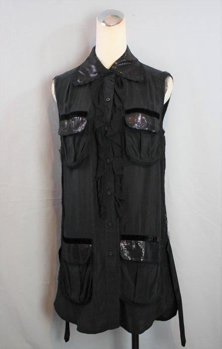 海洋工坊二手名牌旗艦店~ANNA SUI 黑絲質蕾絲無袖長版上衣