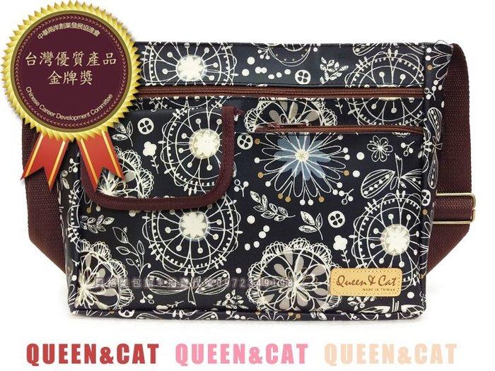 貝格美包館 小蓋子包 黑底手繪花 Queen&Cat 台灣製防水包 斜背 肩背 滿額免運 現貨快速出貨