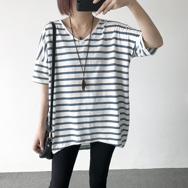 小野千尋 【T12148】1A12韓。V領竹節棉條紋寬鬆T恤4色F.預購。