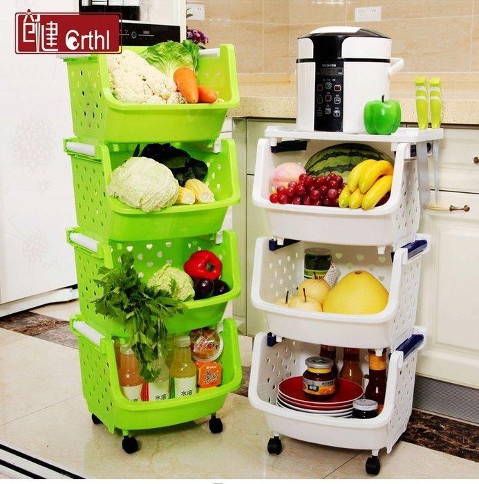 【易生發生活館】塑料菜籃廚房置物架裝放蔬菜架子儲物落地收納籃菜筐3層4多層菜架