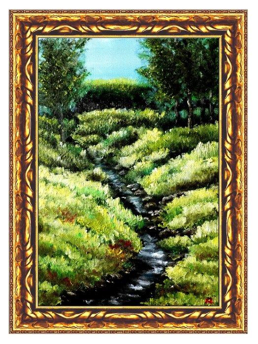 藝術之都:手繪創作油畫 ~溪潺~已完成作品  (實品拍攝) 台灣畫家執筆