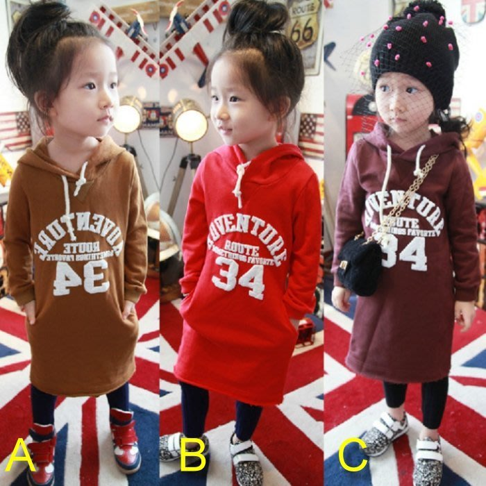 韓版《數字34款》刷毛 長版 長袖上衣 (L3-4)