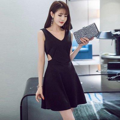 原單小確幸~美國製造  專櫃約會性感彈性縮腰顯瘦圓裙擺洋裝 黑&紅 L// 特價559