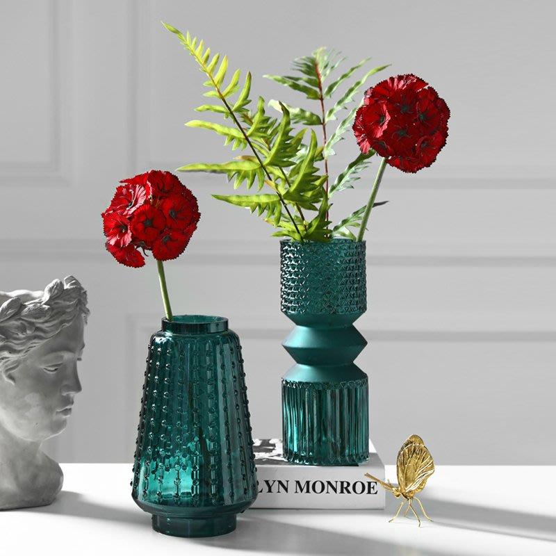 〖洋碼頭〗美式玻璃花瓶擺件客廳電視櫃水培插花假花小號浮雕藍色花器擺設 bhm289