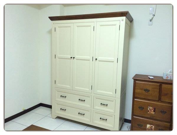 雙色白色實木3門5尺衣櫥衣櫃 高質感也有全木色 鄉村風大空間原木收納櫃棉被斗櫃系統家具簡約風現代風格房間組【歐舍家飾】