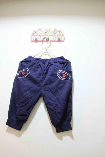 韓版藍色鈕釦棉褲