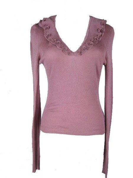 *旺角名店* Gucci 粉紫V領荷葉邊 顯瘦針織上衣 絲質 [113005]