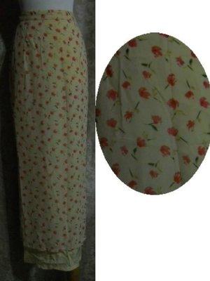 ~麗麗ㄉ大碼舖~M(25-30吋)黃色印花側拉鍊式雙開岔長裙~直裙~全賣場3件免運~小碼拍賣