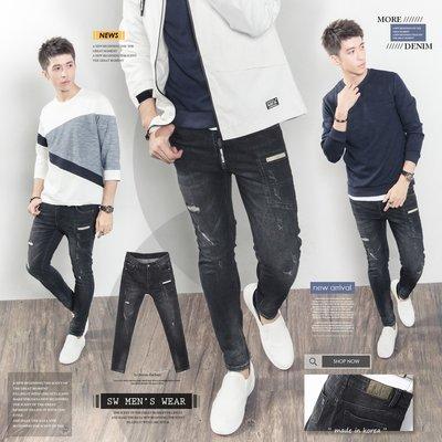 。SW。【K91672】正韓BK 韓國製 修身 抽鬚破壞 彈性單寧布 觸感舒適 口袋 刷紋黑 彈性牛仔褲 英倫GD