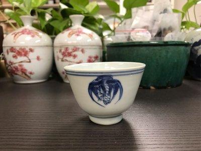 清晚青花團鶴紋杯#3646-2,8.1*6cm左右,品相基本完整