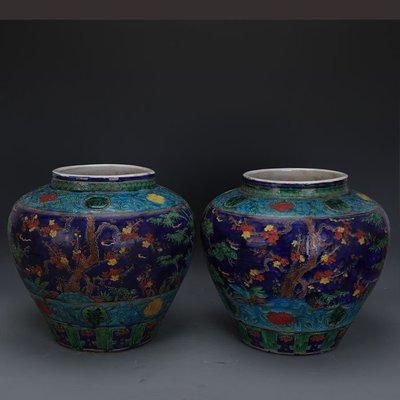 ㊣姥姥的寶藏㊣ 大明嘉靖琺華彩松竹梅紋罐子一對  官窯出土古瓷器手工瓷古玩收藏