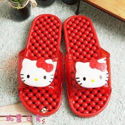 《軒恩株式會社》KITTY 滾珠按摩 韓國進口 24cm 防水 浴室拖鞋 室內拖鞋 室內鞋(紅) 056546