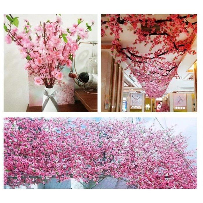 客廳擺件玫瑰 婚慶乾花桃花枝條仿真櫻花枝客廳落地假花裝飾干花束塑料絹花大麥穗臘梅花