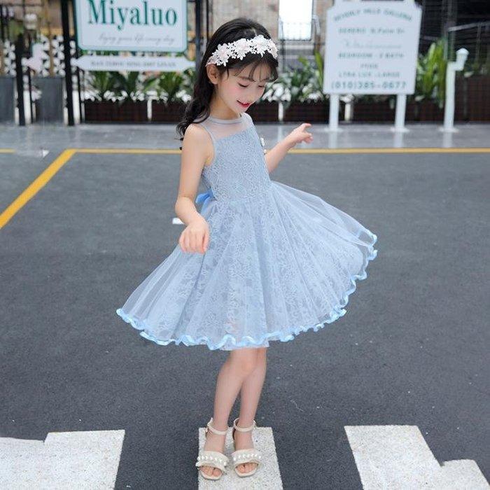 正韓女童夏裝連衣裙2018新款童裝中大兒童夏季洋氣裙子蕾絲公主裙韓版