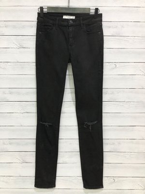 Maple麋鹿小舖 Abercrombie&Fitch * AF 黑色破舊風貼身牛仔褲 * ( 現貨4R號 )