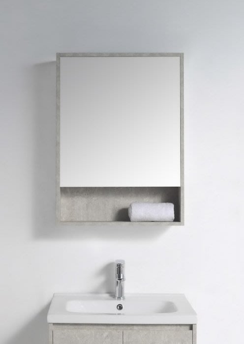 《E&J網》MooE M2-55BG 防水發泡板 55CM鏡箱(開放櫃 極簡水泥灰)多功能鏡箱 鏡櫃 詢問另有優惠