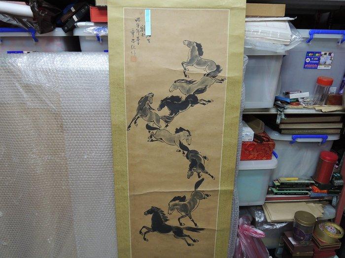 【張大千字畫買賣店】章思統, 八馬圖, 水墨畫作品