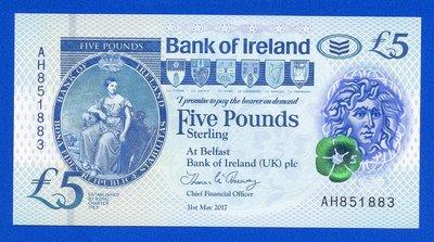 [珍藏世界]北愛爾蘭2017年5元塑膠鈔Pnew全新品相