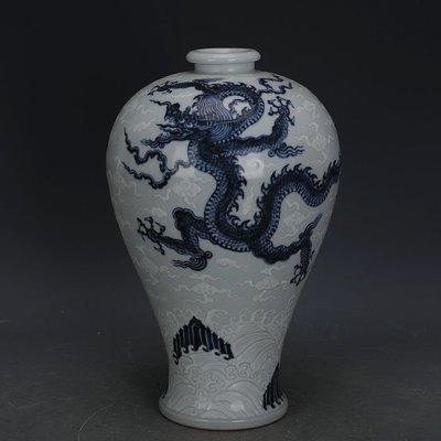 ㊣姥姥的寶藏㊣ 大明宣德青花留白堆雕龍鳳紋梅瓶  出土官窯古瓷器手工瓷古玩收藏
