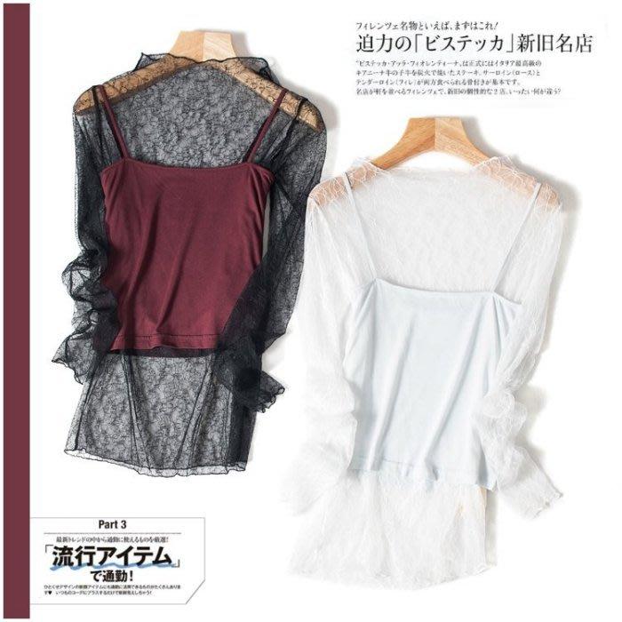 A150 現貨 專櫃半高領鏤空透視感蕾絲衫內搭打底衫(不含小背心)