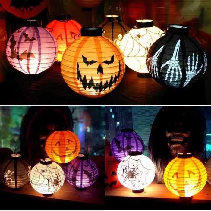 萬聖節發光南瓜燈紙鬼節兒童手提燈酒吧商場學校演出裝飾道具
