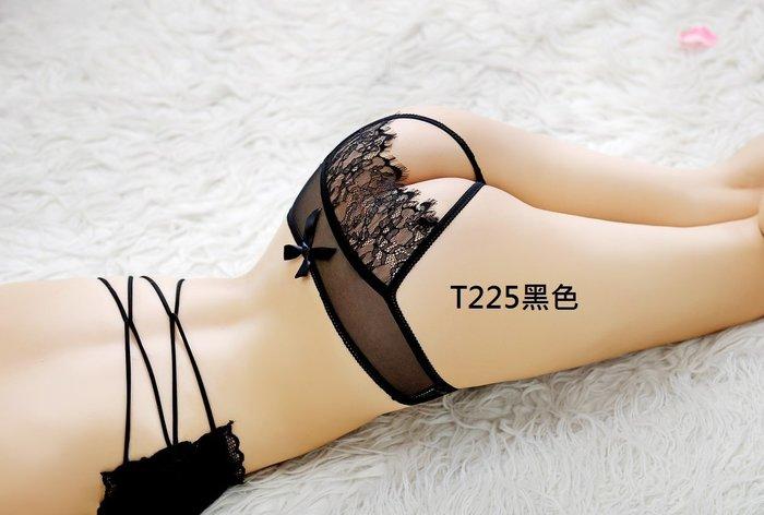 拍照攝影服裝配件 情趣睡衣黑色蕾絲後開檔內褲 愛愛免脫 制服誘惑 角色扮演二色T225~時尚花園館~