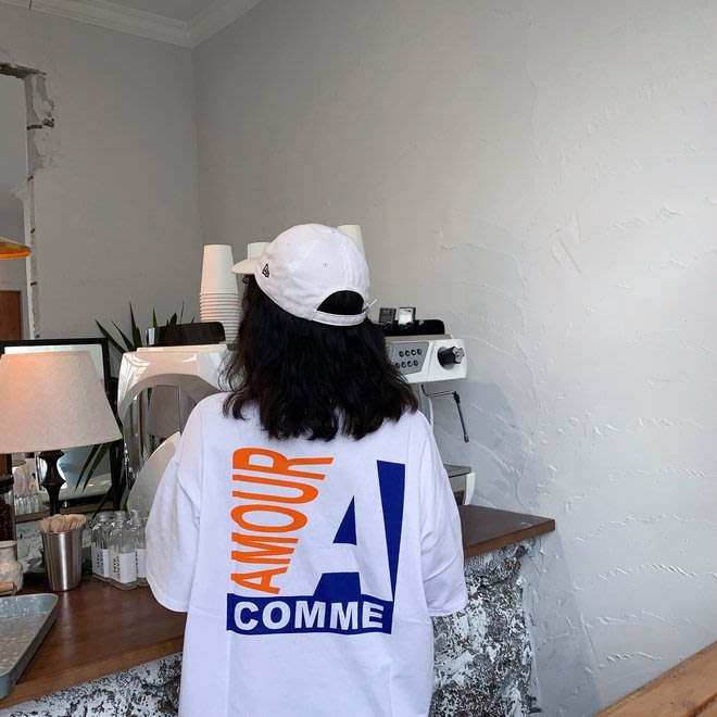FINDSENSE G6 韓國時尚潮流 2019夏季新款字母印花寬鬆BF中長款短袖T恤女裝上衣