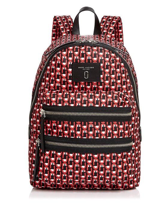 Coco 小舖 MARC JACOBS Biker Logo Scream Print Backpack 紅色尼龍後背包