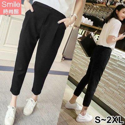 【V2579】SMILE-簡單設計.顯瘦寬鬆直筒休閒九分褲
