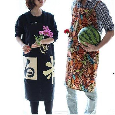 麥麥部落 創意情侶正韓圍裙百搭簡約式式男女通用居家烘培料理帆布袖套MB9D8