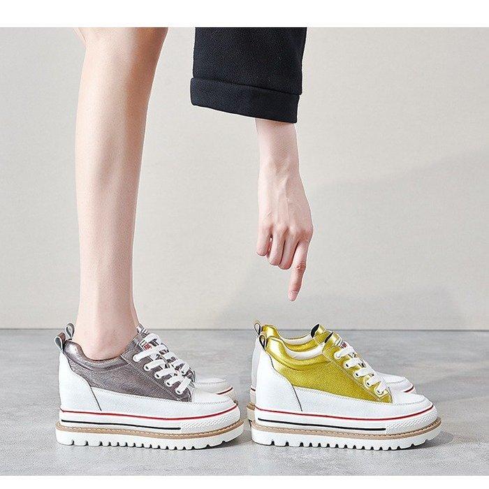 Fashion*厚底內增高小白鞋 百搭韓版休閒厚底鞋 松糕真皮拼色板鞋『金色 銀色 白色』34-39碼