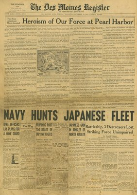 (徐宗懋圖文館) 二戰1941年12月16日 美國報紙《The Des Moines Register》原件