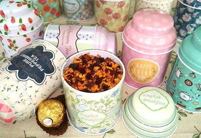 紫滕戀推出茶葉罐鐵盒 可擕式玫瑰花茶花果茶葉糖果罐喜糖盒