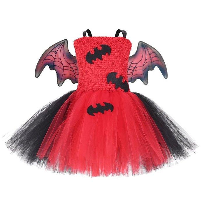 【小阿霏】女童萬聖節服裝 蝙蝠裝tutu女孩化裝舞會cosplay造型 兒童蓬蓬裙洋裝CL234
