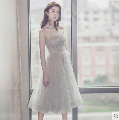2018新款晚禮服生日聚會派對小禮服連衣裙女名媛伴娘服韓版抹胸 (主圖款S M L XL XXL)